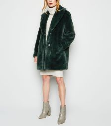 fashion dark-green-faux-fur-longline-coat