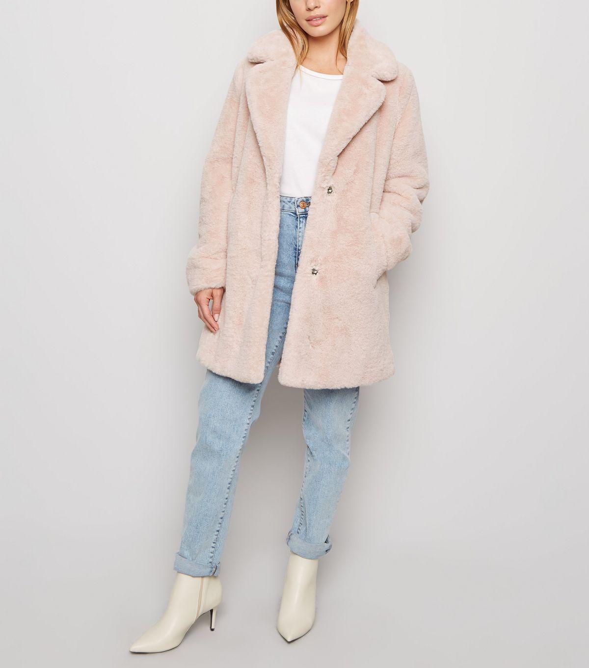 petite-pale-pink-faux-fur-longline-coat