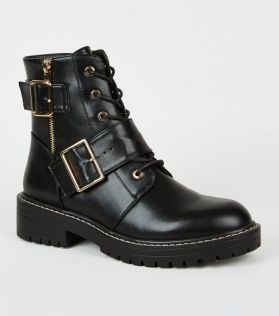black-leather-look-lace-up-buckle-boots